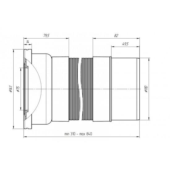 ГОФРИРАНА ВРЪЗКА ЗА WC D110mm 295-750mm PVC ТРЪБА     K721R